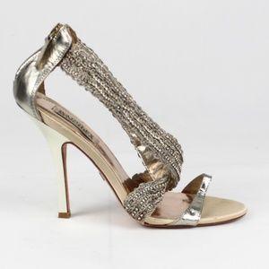 Badgley Mischka Strappy Heel Crystal Embellished